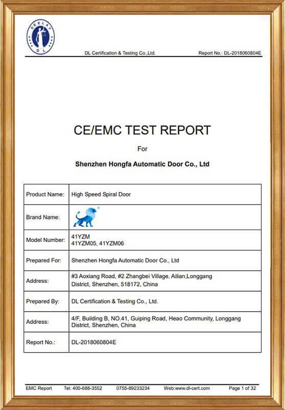Hard Fast Rolling Door EMC Report DL-2018060804