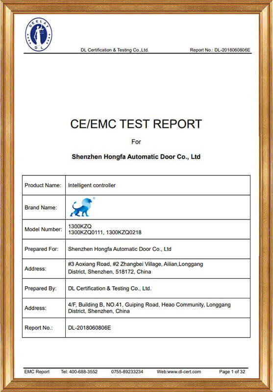 Intelligent Controller EMC Report DL-2018060806