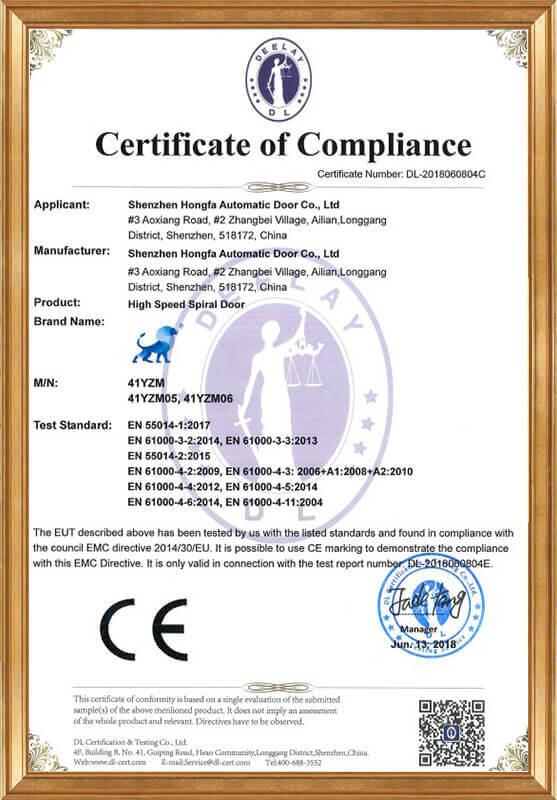Hard fast rolling door LVD certificate