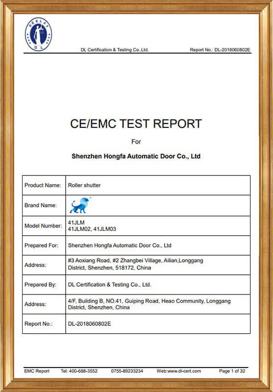 Rolling shutter EMC report