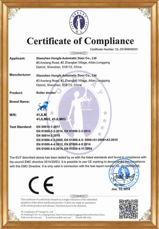 Rolling shutter EMC certificate