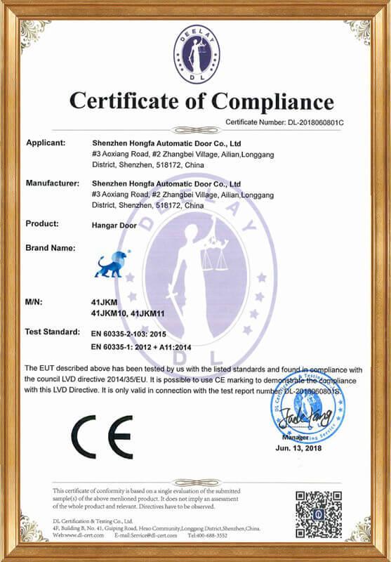 Hangar door LVD certificate