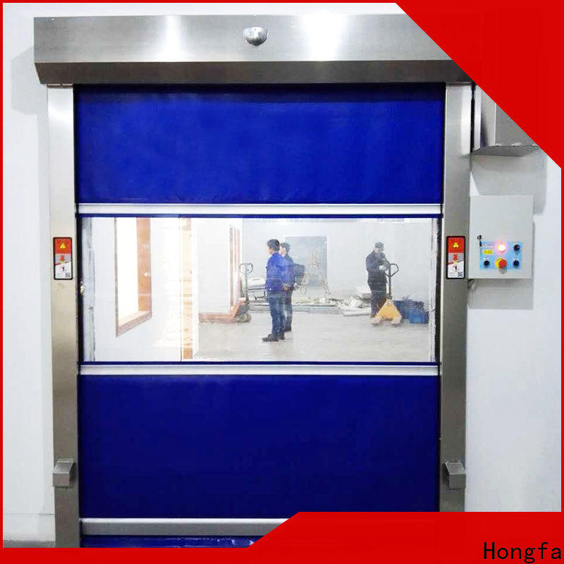 Hongfa clear rapid roll up door for food chemistry textile electronics supemarket refrigeration logistics