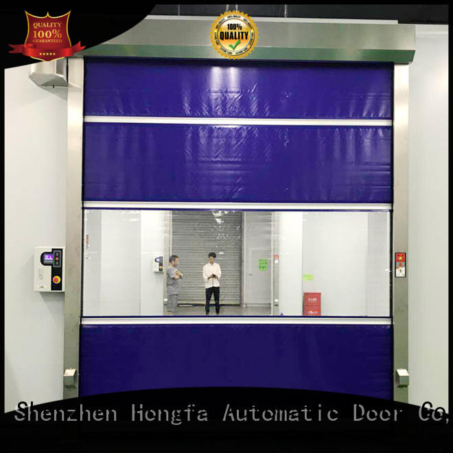Hongfa clear high speed roll up doors overseas market for supermarket