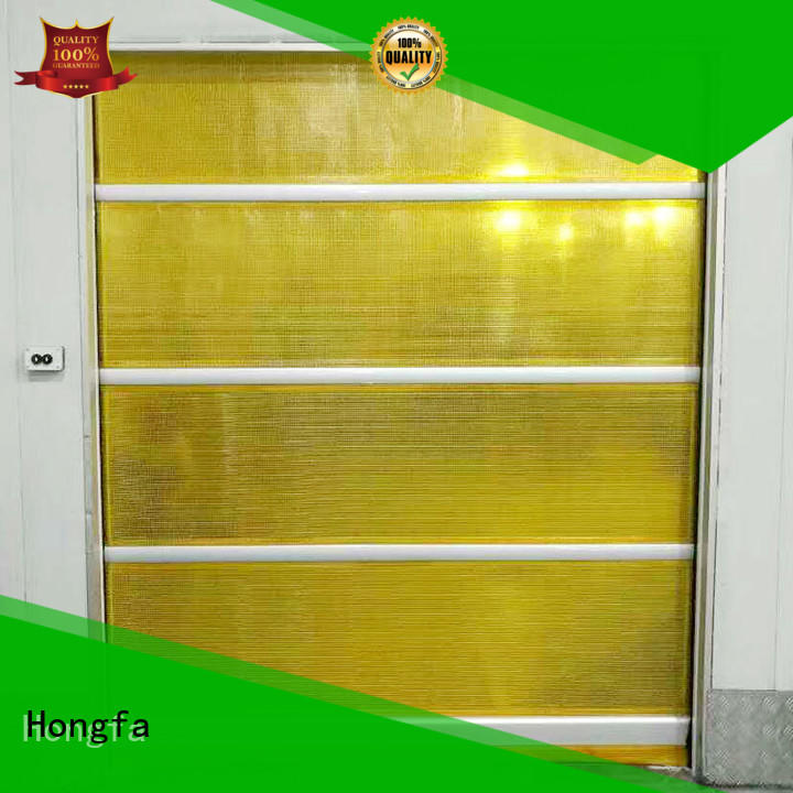 Hongfa efficient high speed door in different color for food chemistry textile electronics supemarket refrigeration logistics