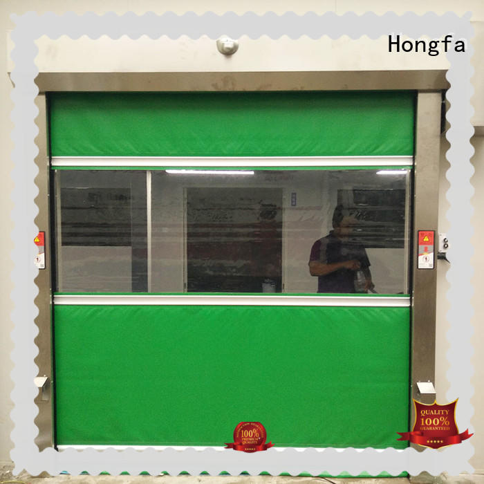 Hongfa fabric roll up door overseas market for food chemistry textile electronics supemarket refrigeration logistics